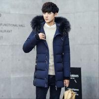 新款毛领棉衣男士中长款羽绒棉服冬装中长款潮外套加厚棉衣