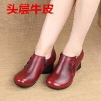 中年单鞋女新款复古中跟深口女鞋粗跟真皮舒适时尚春秋妈妈小皮鞋