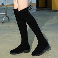 长筒靴过膝长靴子女学生韩版冬平底加绒百搭春秋单靴高筒骑士靴潮