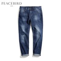 太平鸟男装 男士长裤潮流休闲猫须漆点时尚深蓝色直筒牛仔裤男