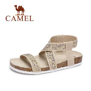 Camel/骆驼女鞋 春夏新款 休闲罗马风水钻弹力布凉鞋平底防滑沙滩鞋