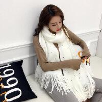 纯色围巾女冬季韩版加厚长款仿羊绒毛线针织围脖学生保暖春秋冬天