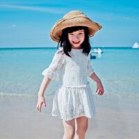 Yinbeler女婴儿裙短袖女童蕾丝裙女宝宝镂空连衣裙