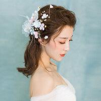 超仙花朵边夹发饰婚纱头饰森系羽毛结婚配饰礼服饰品