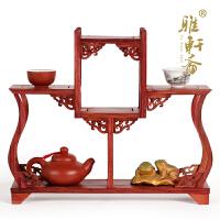 实木紫砂茶壶架子摆件 红檀木展示架小多宝格 红木小博古架茶具架