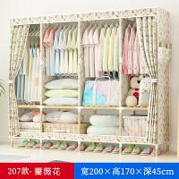 单人简易衣柜挂衣柜木质布艺新款布衣柜钢管加粗加固折叠衣服柜子 2米207蔷薇花 有盖盒x1
