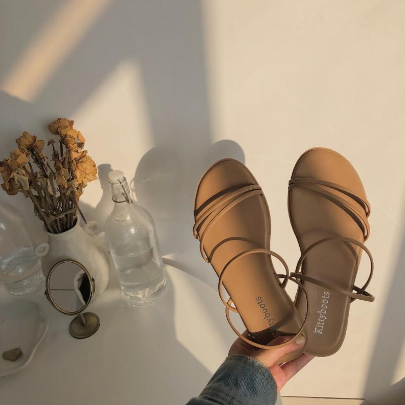同款凉鞋仙女风凉鞋2019新款两穿细带简约露趾沙滩鞋网红平底罗马凉鞋女夏