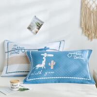 枕巾一对装单人纯棉纱布北欧式全棉防滑不脱落三层枕头盖巾