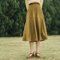 茵曼百褶半身裙女中长款显瘦2021年早春新款复古纯色拼接a字裙子【F1811443】