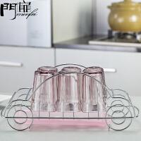 门扉 挂架 创意汽车型不锈钢杯架玻璃杯茶杯酒杯沥水架晾杯子架厨房用品家居日用置物架子