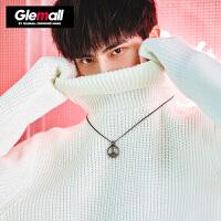 森马旗下潮牌GLEMALL 毛衣男士套头衫简约纯色打底针织衫复古高领毛衣