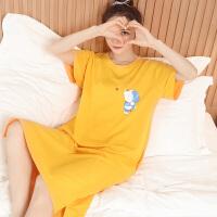 甜梦莱长款睡裙女夏季纯棉短袖可爱机器猫薄款睡衣韩版学生春秋天家居服 TFN#1902叮当猫--黄色