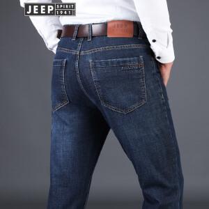 吉普JEEP男士弹秋冬莱赛尔棉质牛仔长裤舒适柔软护肤微休闲裤户外运动长裤