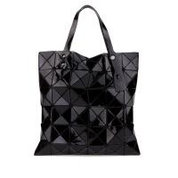 新款女包手提包女 欧美三角拼接镭射几何菱格折叠包同款包潮女士大包包小包包 竖款 竖款 酷黑色