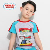 【满600减400】托马斯正版童装男童夏装时尚圆领纯棉托马斯印花短袖上衣T恤