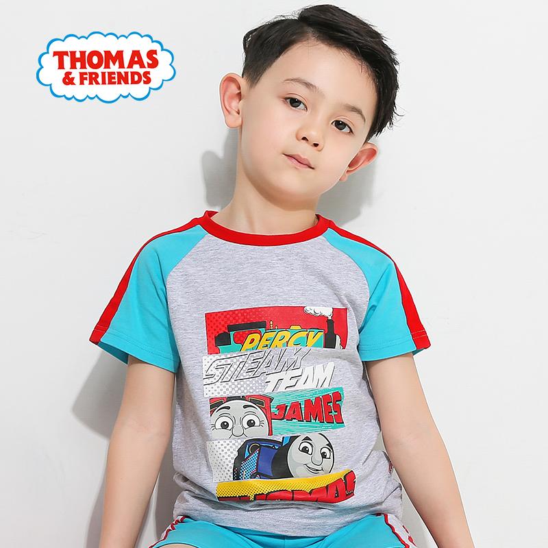 【99元3件】托马斯正版童装男童夏装时尚圆领纯棉托马斯印花短袖上衣T恤99元3件/299元9件领券再减50