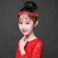 红色亮钻珍珠发箍儿童头饰水钻发饰闪亮公主皇冠