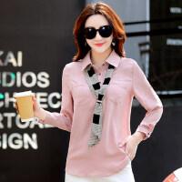 时尚娃娃领个性小领带修身显瘦雪纺衫女 款韩版时尚长袖衬衫女小衫上衣