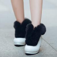 2017冬款兔毛小高跟短靴公主棉鞋子靴一脚蹬女童高跟靴