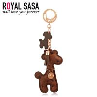 皇家莎莎小鹿钥匙挂件PU皮钥匙扣韩国版包包汽车可爱动物挂坠饰品