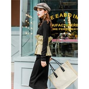 七格格冬季连衣裙女秋装新款黑色假两件套拼接修身过膝长裙子