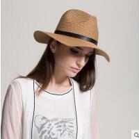 夏季女士户外遮阳沙滩帽男女英伦爵士草编礼帽大帽檐皮带搭扣遮阳帽