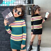 奥戈曼  女童中长款毛衣打底衫中大童套头针织衫儿童秋冬款长款条纹毛线衣