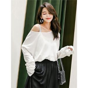 白色长袖t恤女2019新款春装宽松锁骨上衣大版时尚心机打底衫显瘦
