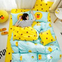 多喜爱布朗熊秋冬新品全棉四件套纯棉卡通套件床单被套床上用品欢乐莎莉
