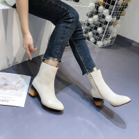 粗跟高跟短靴女2019秋冬单靴女中靴尖头短筒时尚马丁靴女鞋踝靴
