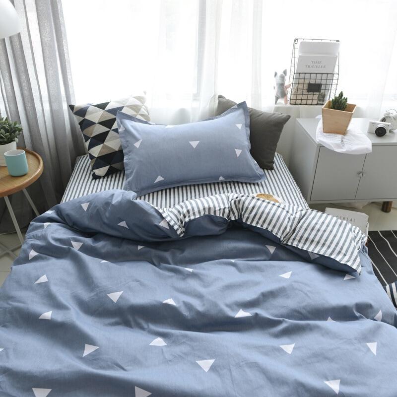 【人气】纯棉学生宿舍单人床三件套 儿童床上用品被套床单1.2米床品全棉【】