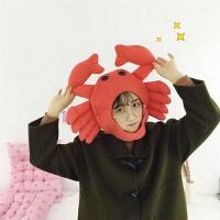 日系卡通甜美卖萌螃蟹头套chic拍照道具软妹搞怪可爱少女帽子头套 螃蟹头套 可调节
