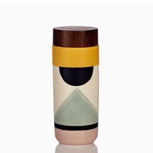 乾唐轩活瓷杯航向幸福木纹盖随身杯创意陶瓷双层密封随手杯子正品