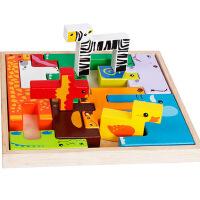 木制卡通动物积木 创意儿童立体拼图拼板 宝宝认知益智玩具