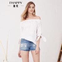 海贝夏季新款女装上衣 纯棉简约一字领露肩五分袖休闲白衬衫