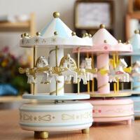 上新旋转木马音乐盒生日装饰摆件 儿童八音盒宝宝玩具带灯光