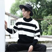 秋冬男士潮流黑白条纹撞色针织衫韩版英伦宽松青年半高领毛线衣