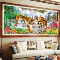 客厅大幅流水生财花开富贵老虎动物十字绣钻石画满钻背景装饰粘贴