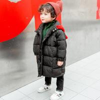 男童棉衣2018新款儿童韩版宝宝冬装外套小童装中长款棉袄5潮3 黑色 90cm