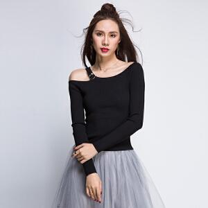 单露肩吊带针织衫全织时代黑色修身显瘦打底衫春秋长袖上衣女短款