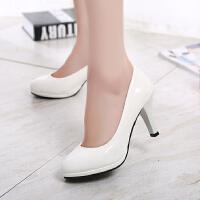 10CM高跟鞋防水台性感细跟浅口单鞋女韩版圆头女鞋漆皮工作鞋子春 白色 8cm