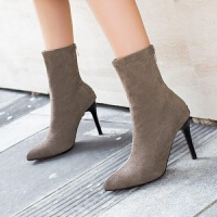 弹力袜子靴瘦瘦靴高跟靴子女细跟中筒短靴尖头踝靴黑色百搭马丁靴
