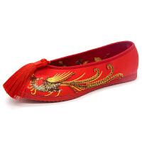 春秋汉服配鞋子古风女鞋绣花鞋布鞋结婚鞋复古女红色新娘平底汉鞋