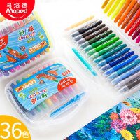 马培德丝滑彩色画画笔24色水溶性油画棒儿童36色旋转蜡笔扭扭棒幼儿园安全可水洗彩笔美术绘画12色炫彩棒套装