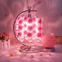 水晶台灯创意婚庆婚房装饰卧室床头灯母节礼物玫瑰花结婚礼物 其他