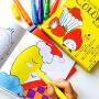 endu恩都儿童涂色本幼儿园涂色绘画本6册96幅画可涂送6色旋转可水洗蜡笔 幼儿园画画涂色油画棒