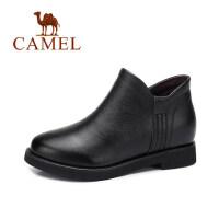 camel 骆驼女鞋 冬季新款 英伦风简约及踝靴女 复古短靴子