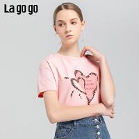 Lagogo2019夏季新款甜美字母印花短袖淑女粉色圆领T恤IATT314C10