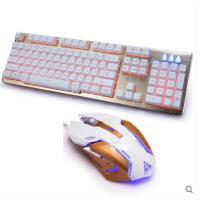 【支持礼品卡】金河田合金旅键鼠套装机械手感KM017USB有线游戏办公悬浮炫彩发光
