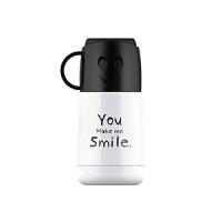 【当当自营】艾可思潮牌不锈钢保温杯萌宝宝学生水壶便携户外运动学生笑脸水杯-杯身白色